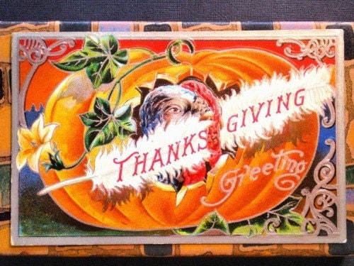 ANTIQUE THANKSGIVING POSTCARD - Sneaky Turkey Behind A White Feather, Trimmed In Silver Leaf, Pre-1920s