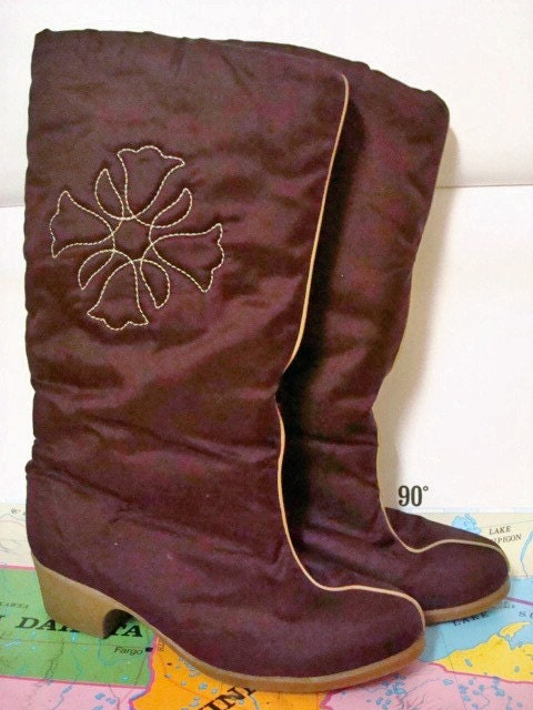 Cozy Hush Puppies Faux Fur Lined Burgundy Boots