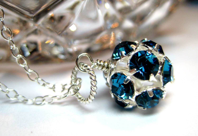 Swarovski necklace, Teal green, Sterling silver, Swarovski crystals rhinestones, Round crystal ball, Handmade jewelry - JewelrybyDorothy