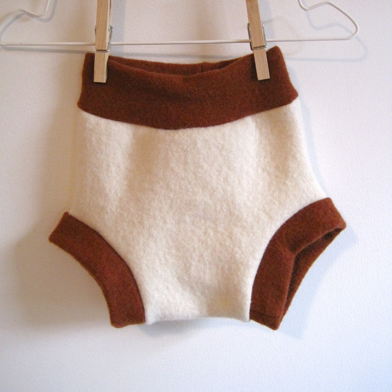 Creamy Pumpkin Wool Shorties, natural cloth diaper cover, size medium