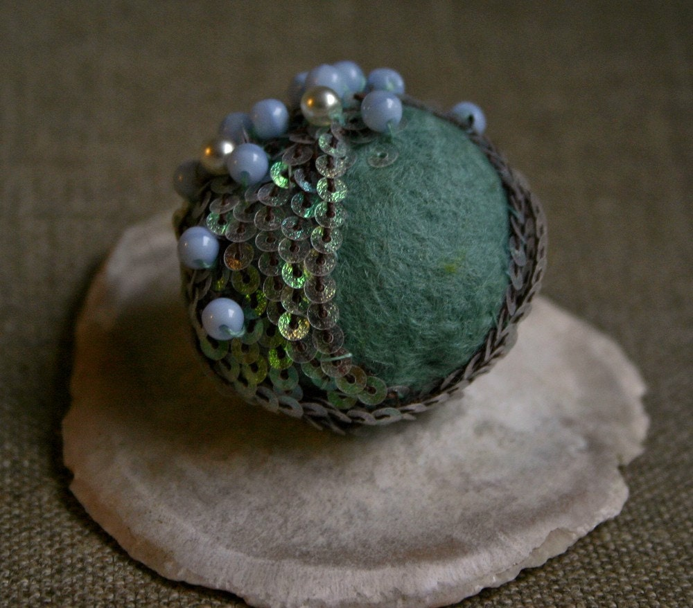 Seafoam, pearls and fish scales - A Mermaid Bauble Brooch