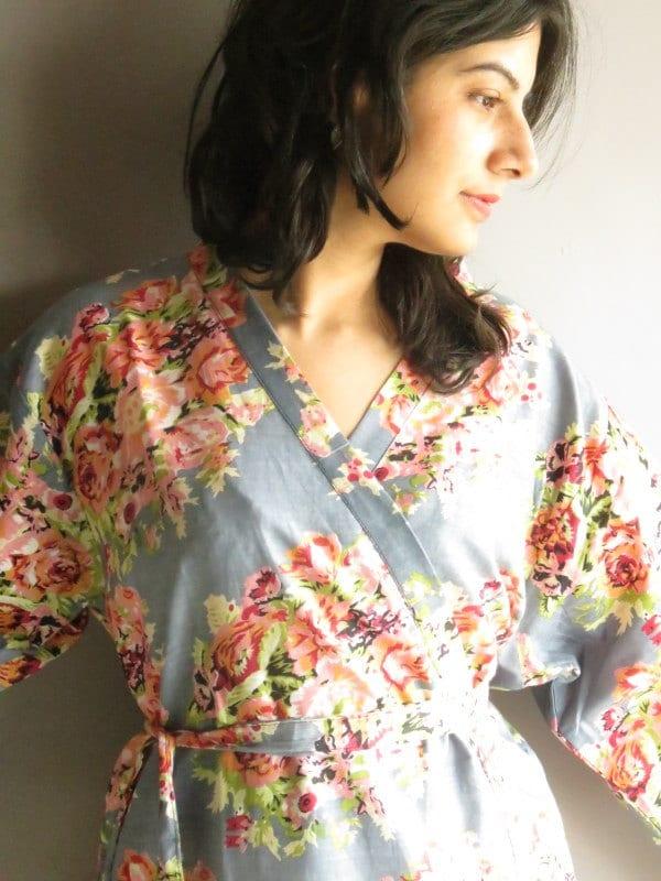Kimono Robe - Gray Floral Crossover Knee length Robe..getting ready robe, bridal robe..make lovely pre-wedding photos..wedding favors