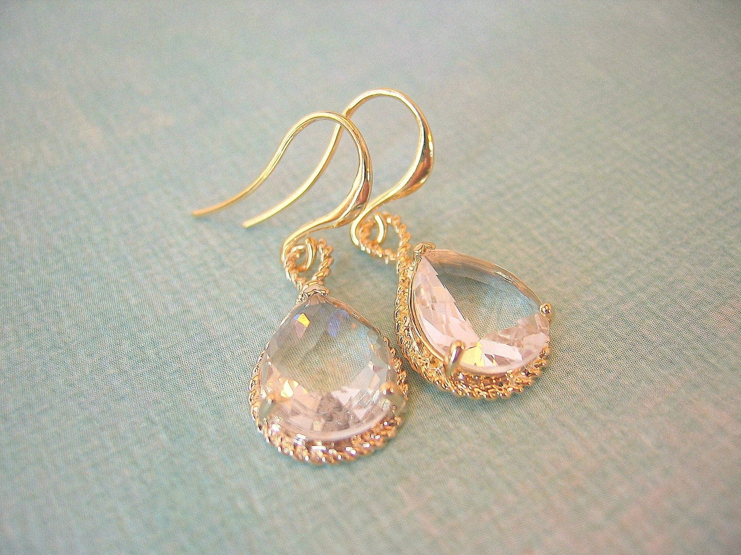Clear Crystal Pears in Gold Setting Earrings