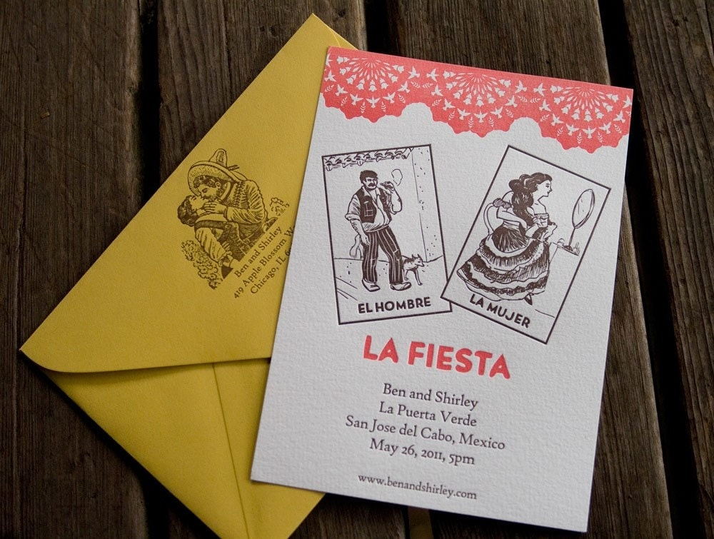 Mexican Loteria Digitally printed Wedding Invitations set of 25