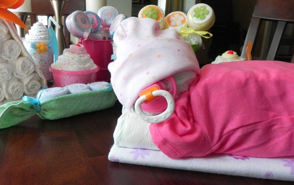 how to make a sleeping baby diaper cake