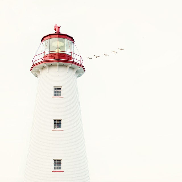 Nautical Decor, Lighthouse Photograph, Ocean, Sea, White, Red, Summer, July 4, Beach, Minimal Fine Art Print - To the Lighthouse - EyePoetryPhotography