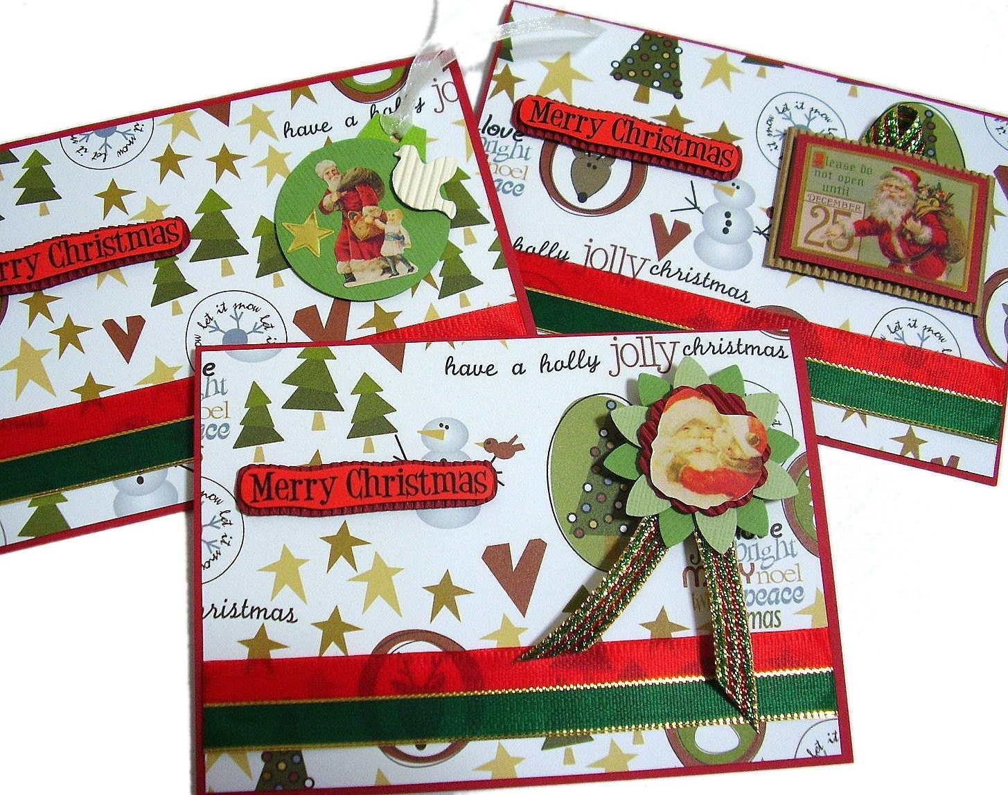 Christmas In July - Merry Christmas Handmade Cards (set of 3) by uniquegrabs on Etsy