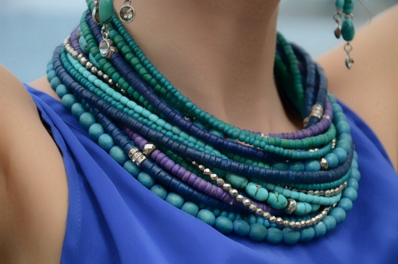 Waves of the ocean, gemstones and neon wood statement necklace