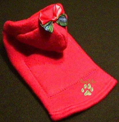 RED FLEECE HOODIE  Dog Coat, Jacket, Pocket, Bow Yorkie  (xxxs-xxs-xs-s-m)