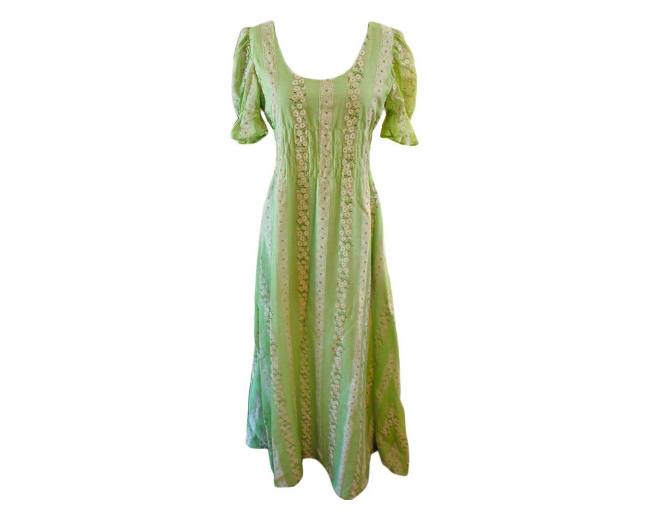 Hippie Chick Green Flower Maxi Dress