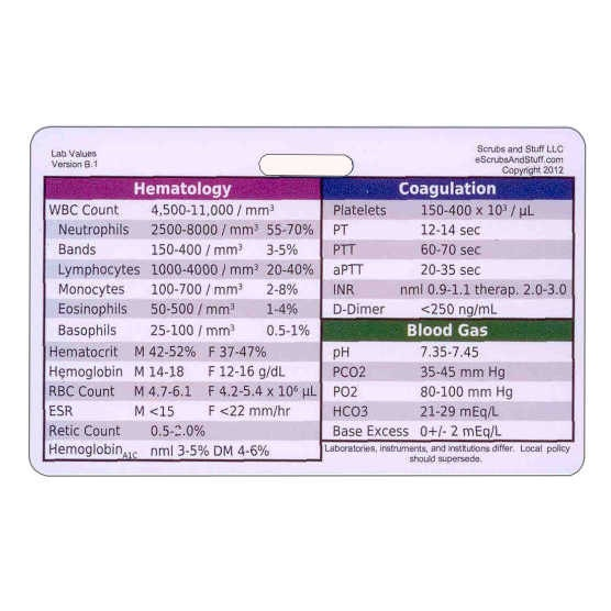 Laboratory Values Badge Card Reference Horizontal for Nurse Medic EMT ...