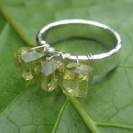 Off the Hook Lemon Topaz and Fine Silver Ring