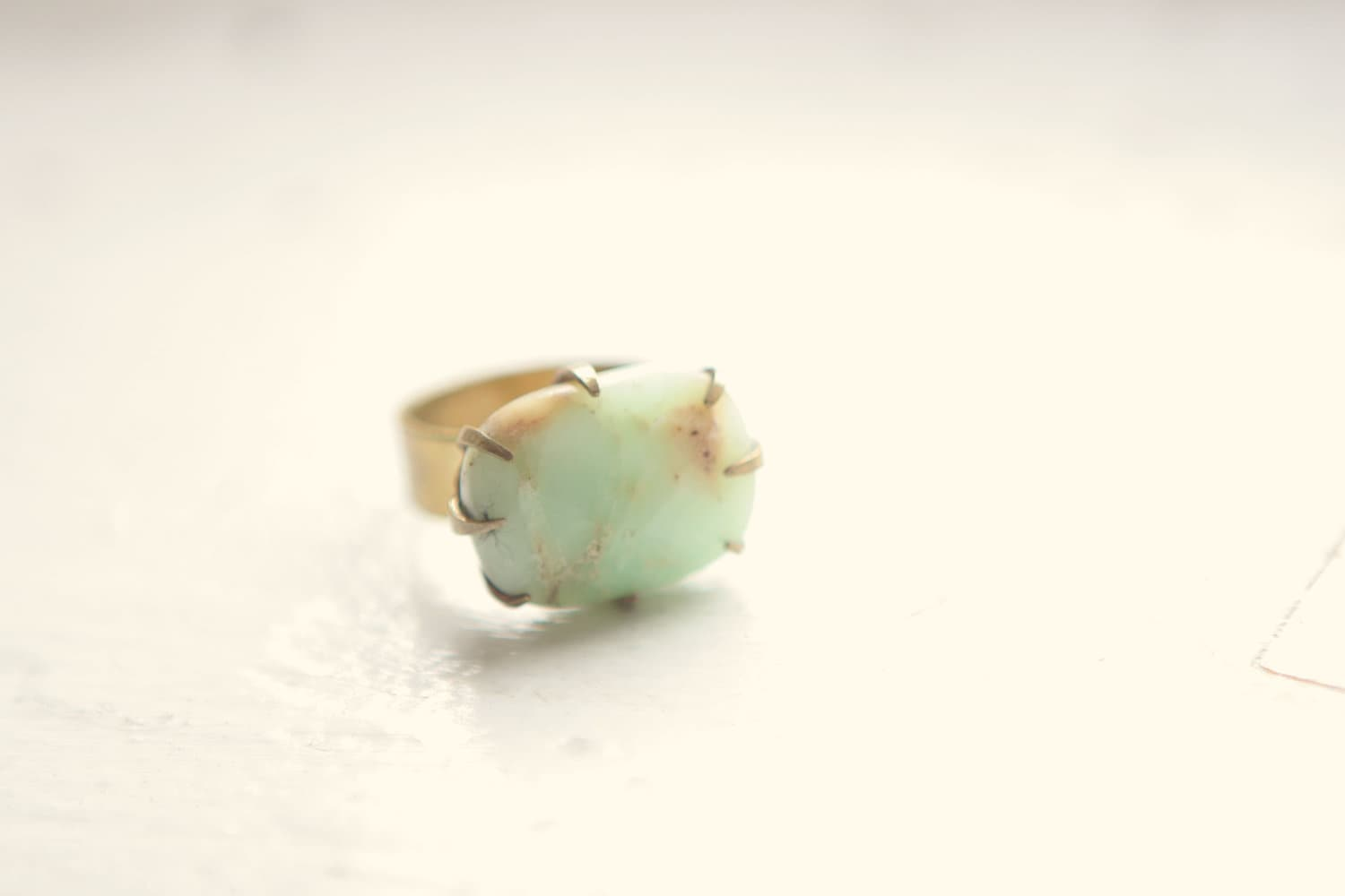 Faceted Chrysoprase Prong Set Ring