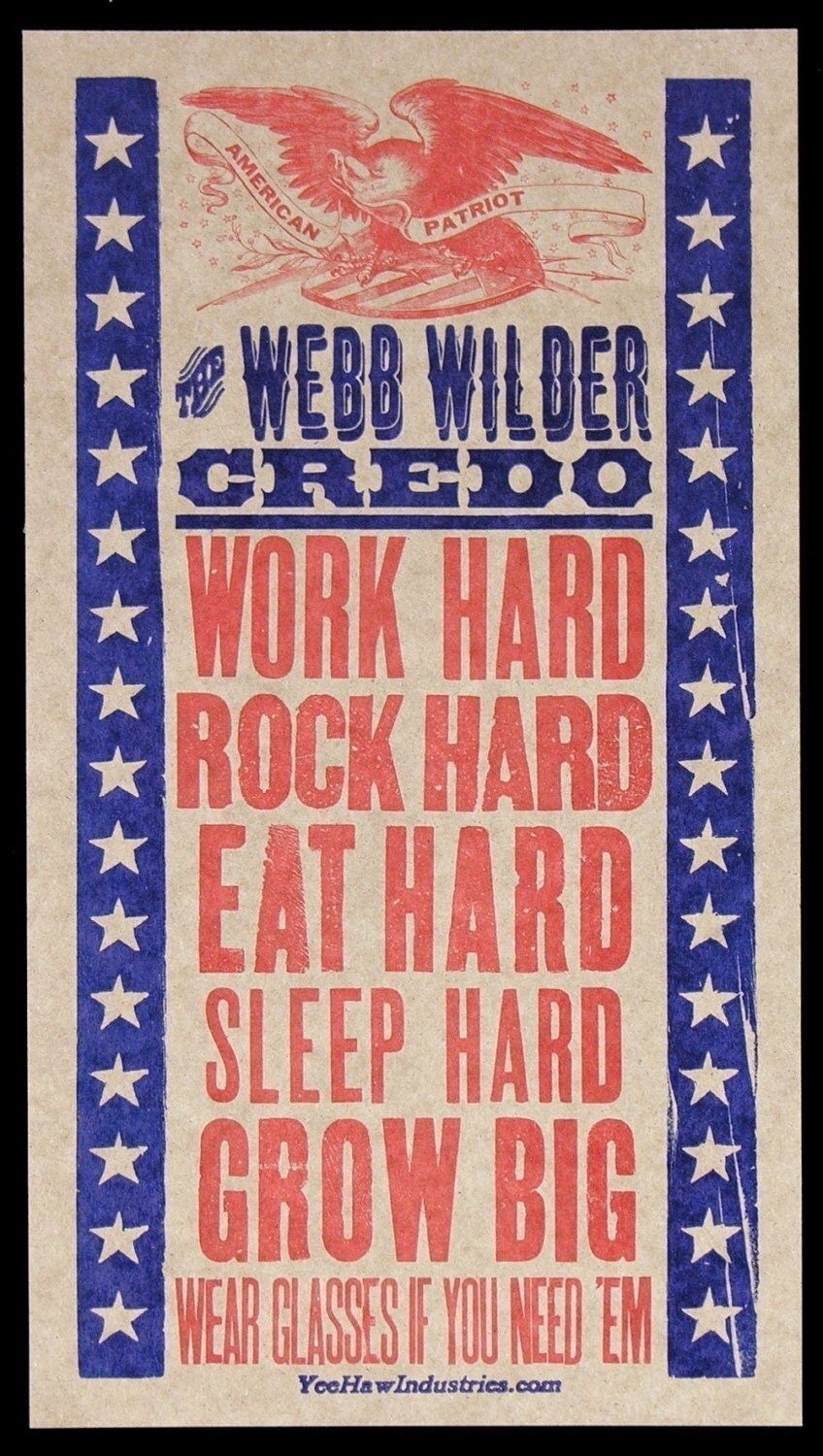 WEBB WILDER CREDO -ROCK HARD- HAND-PRINTED LETTERPRESS POSTER
