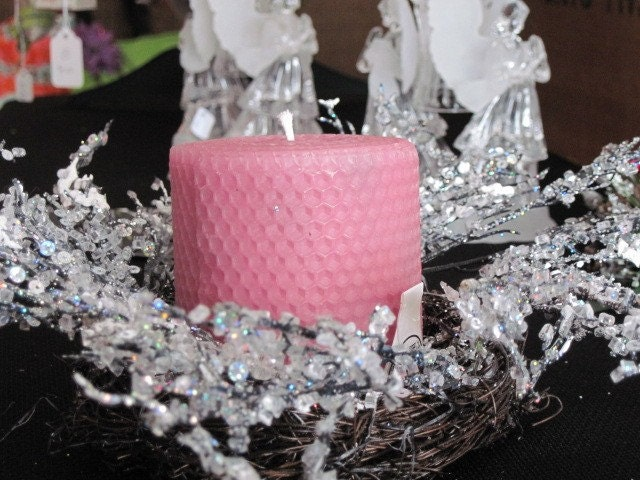 Icy Candle Ring and Soft Pink Beeswax Candle