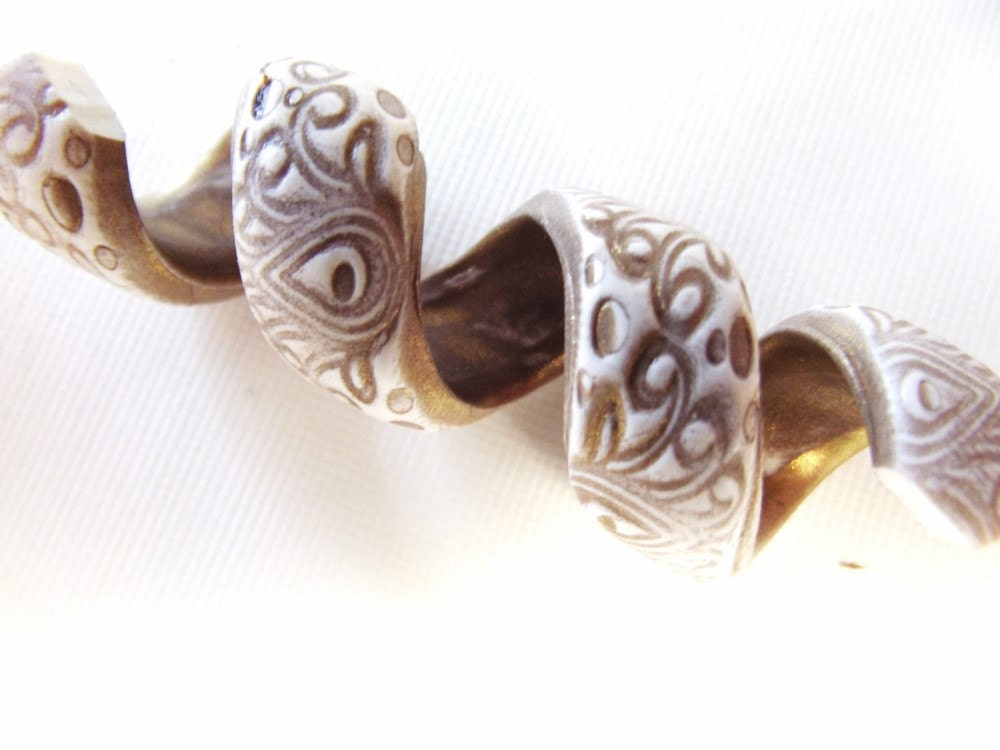 GYPSY PAISLEY Dreadlock Beads  - White and Gold Bohemian Dreadlock Accessories - SouthpawPolymer