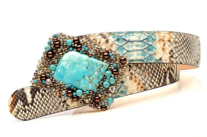 Jeweled belt buckle with precious python skin belt