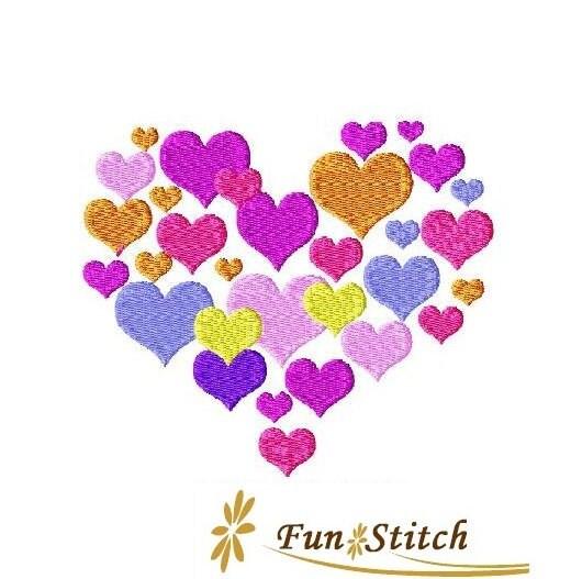 Big heart machine embroidery design valentine by
