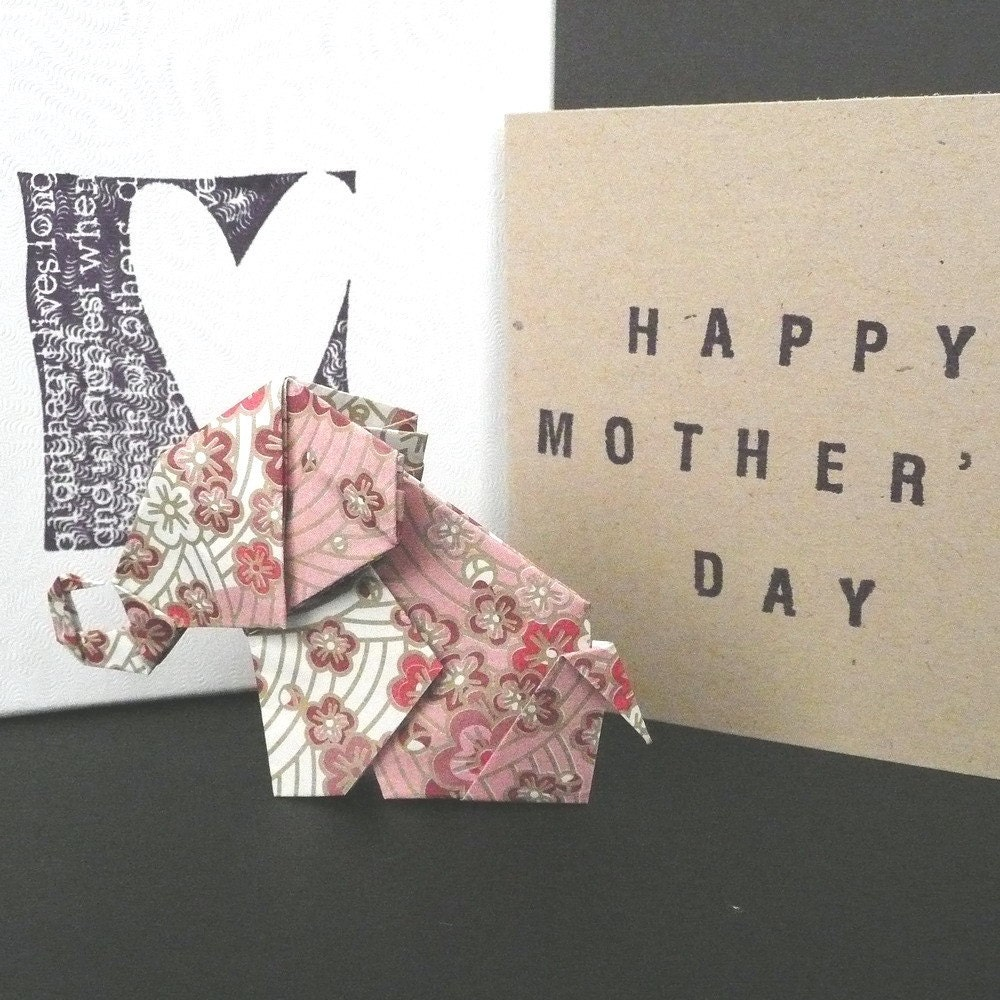 Origami Elephant Gift Box Set w/ HAPPY MOTHER'S DAY Greeting Card - Purple Blossoms/Red Pink (GB-OEPK01) - FREE Shipping