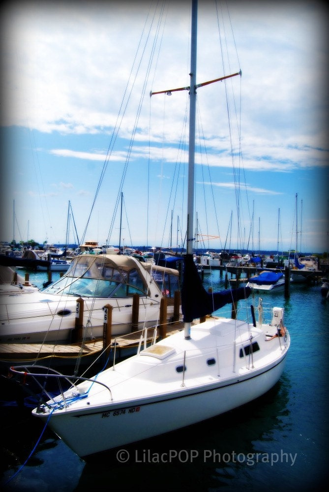 Sailboat in  Elk Rapids, Mi - Fine Art Photograph on Metallic Paper FREE SHIPPING