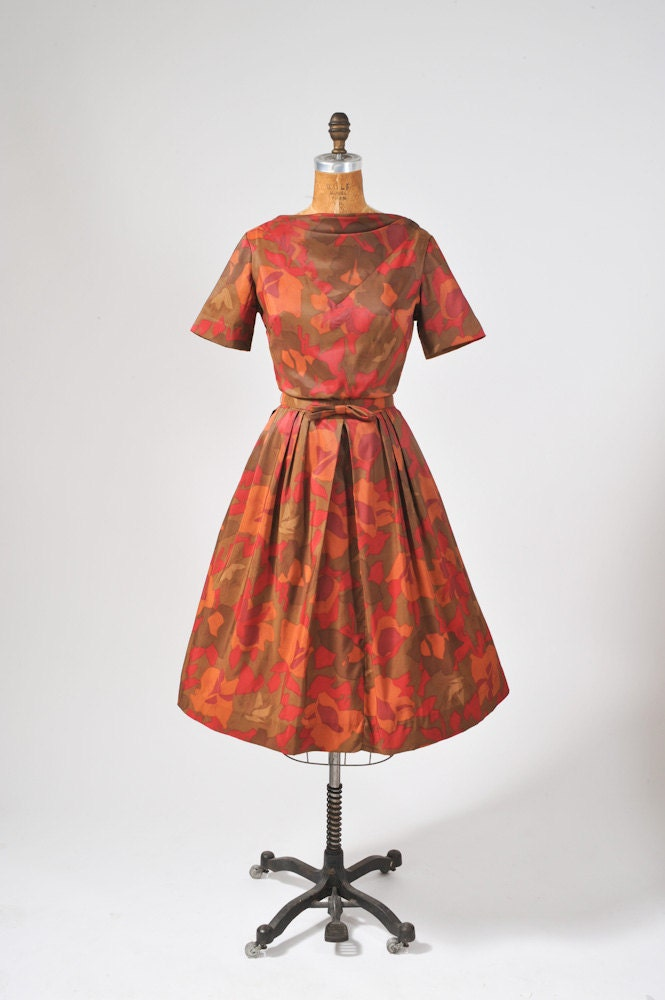burgundy, moss, and orange fall colored 1950's to 1960's dress