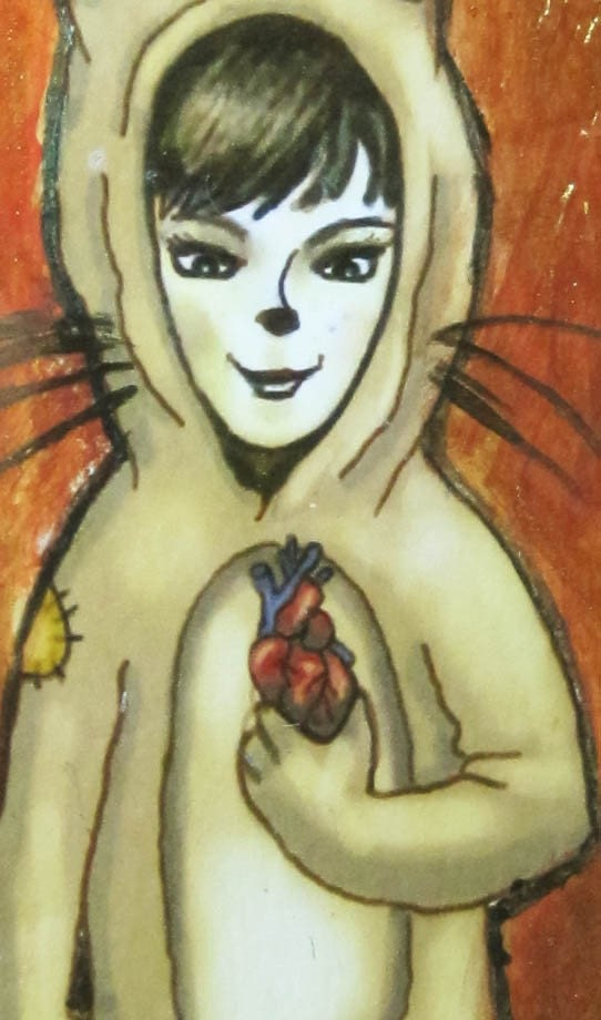 Girl In A Cat Costume Original Painting Ornament