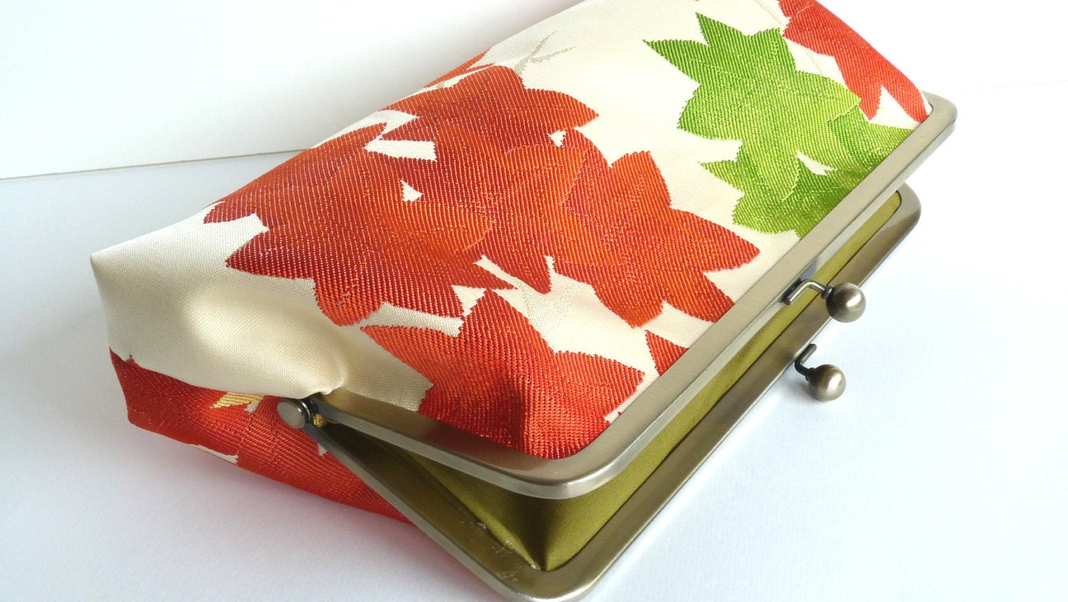 Autumn Orange and Green Japanese Maple Leaf Woven Clutch Bag, Evening Purse, Handbag - cheekyleopard