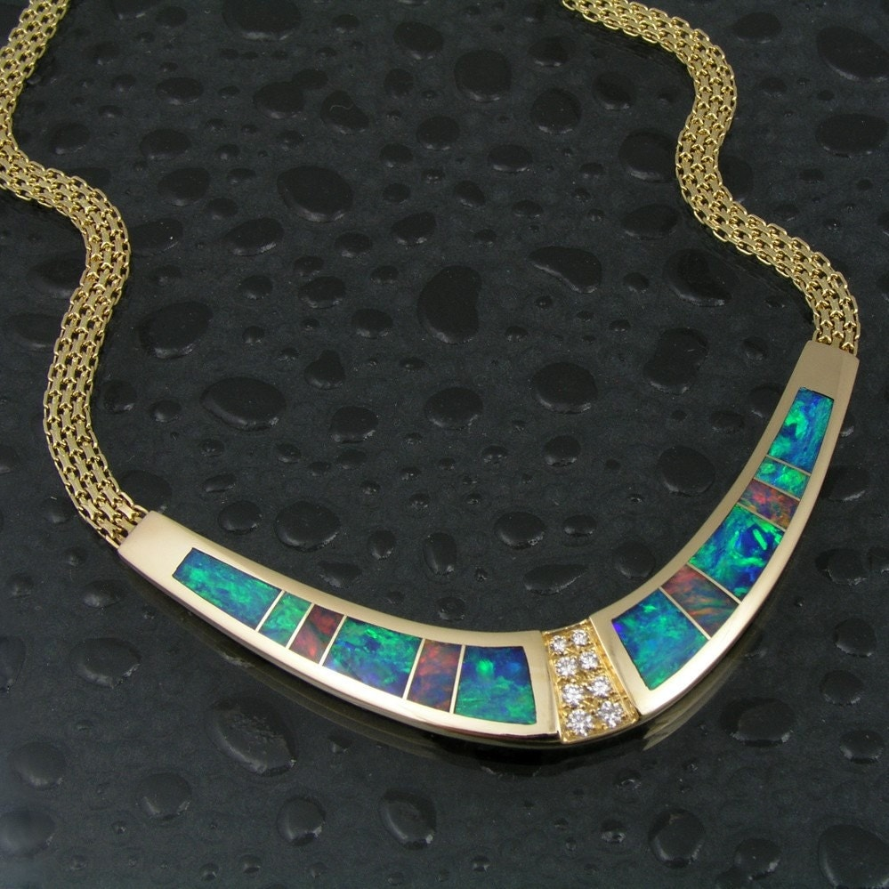 australian opal necklace in 14 karat gold with by