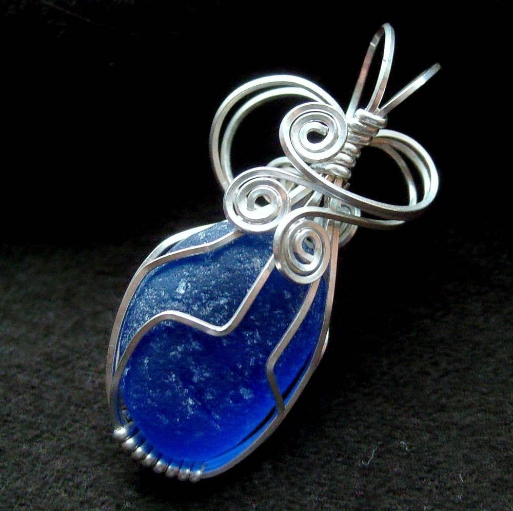 ROYALTY Cobalt Blue Genuine Sea Glass Wire Sculpted Pendant by Lake Erie Beach Glass LEbg