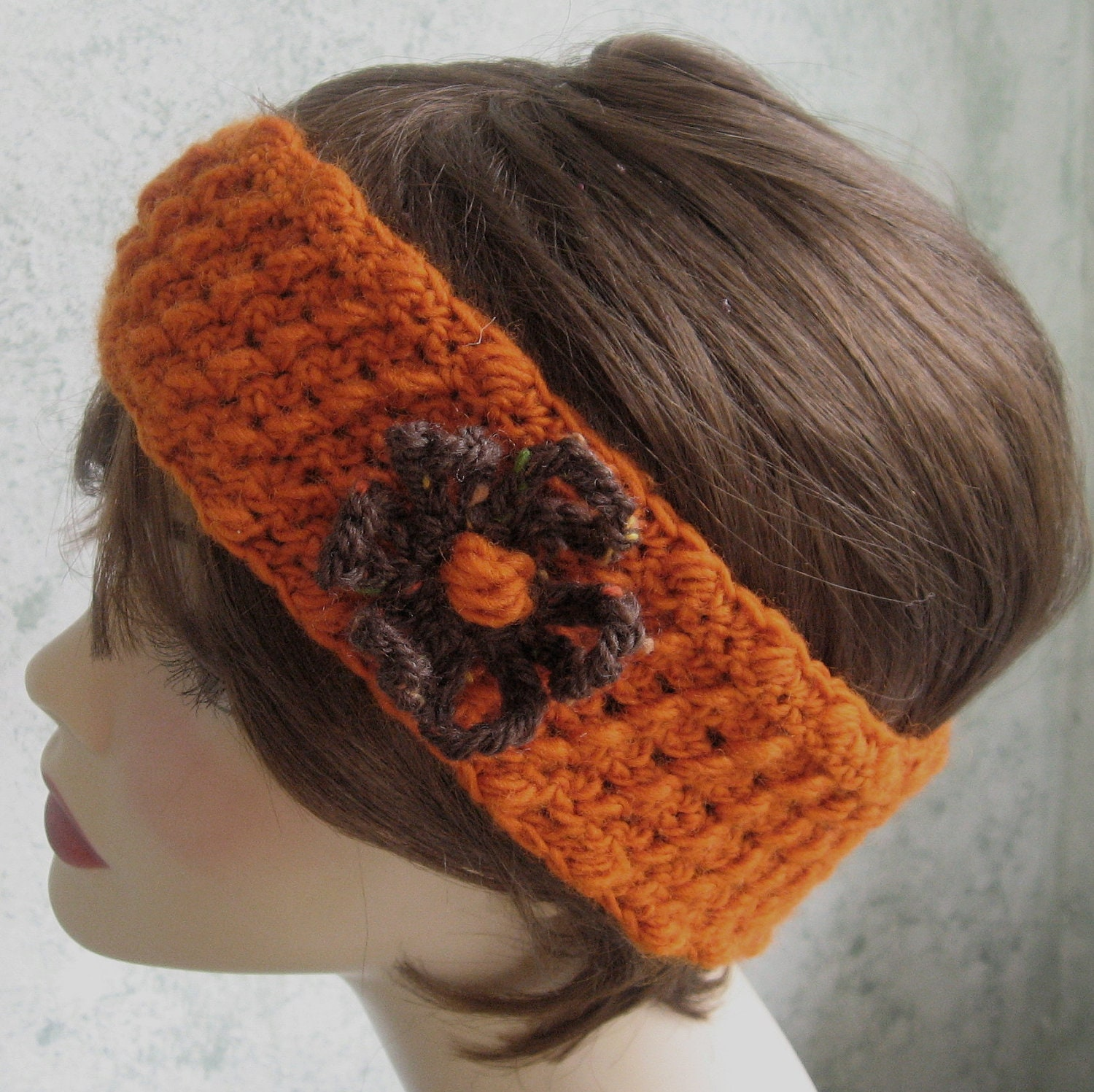 Items similar to Crochet Headband Pattern With Flower Trim ...