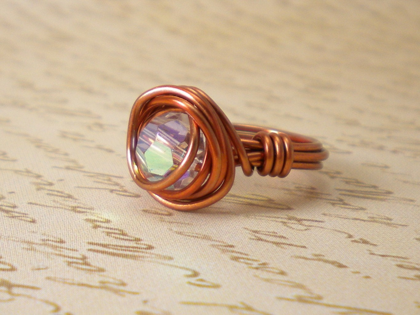 Copper Acrylic Wire Wrap Ring
