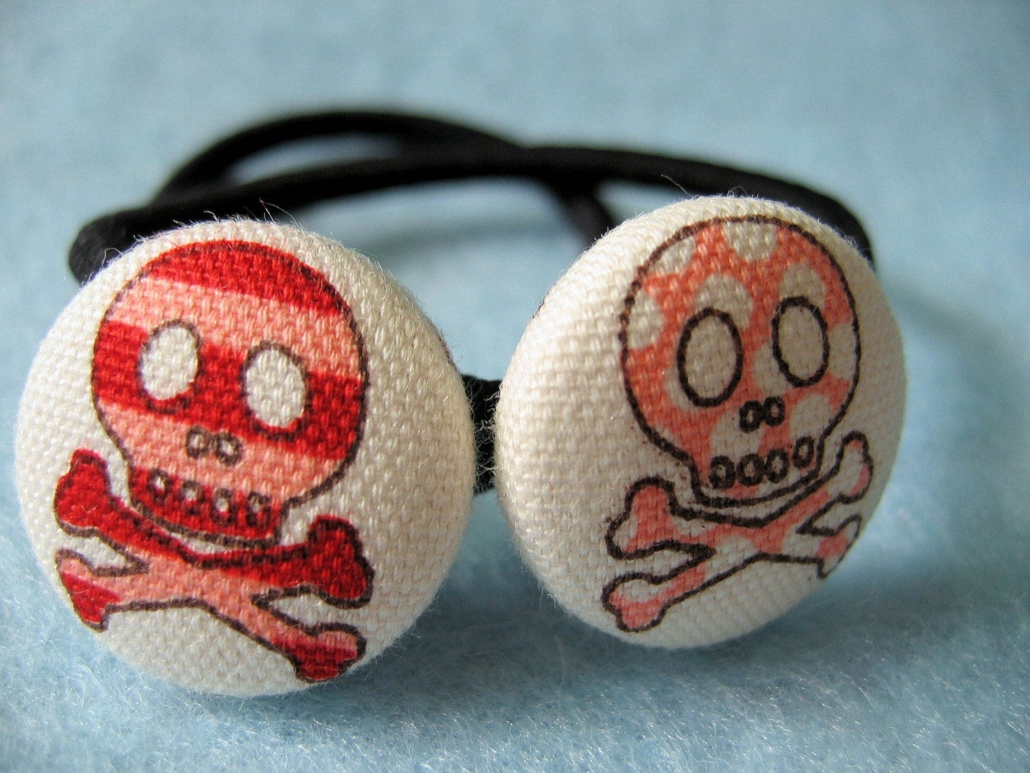 Red and Pink Skulls - Fabric Covered Button Ponytail Holder
