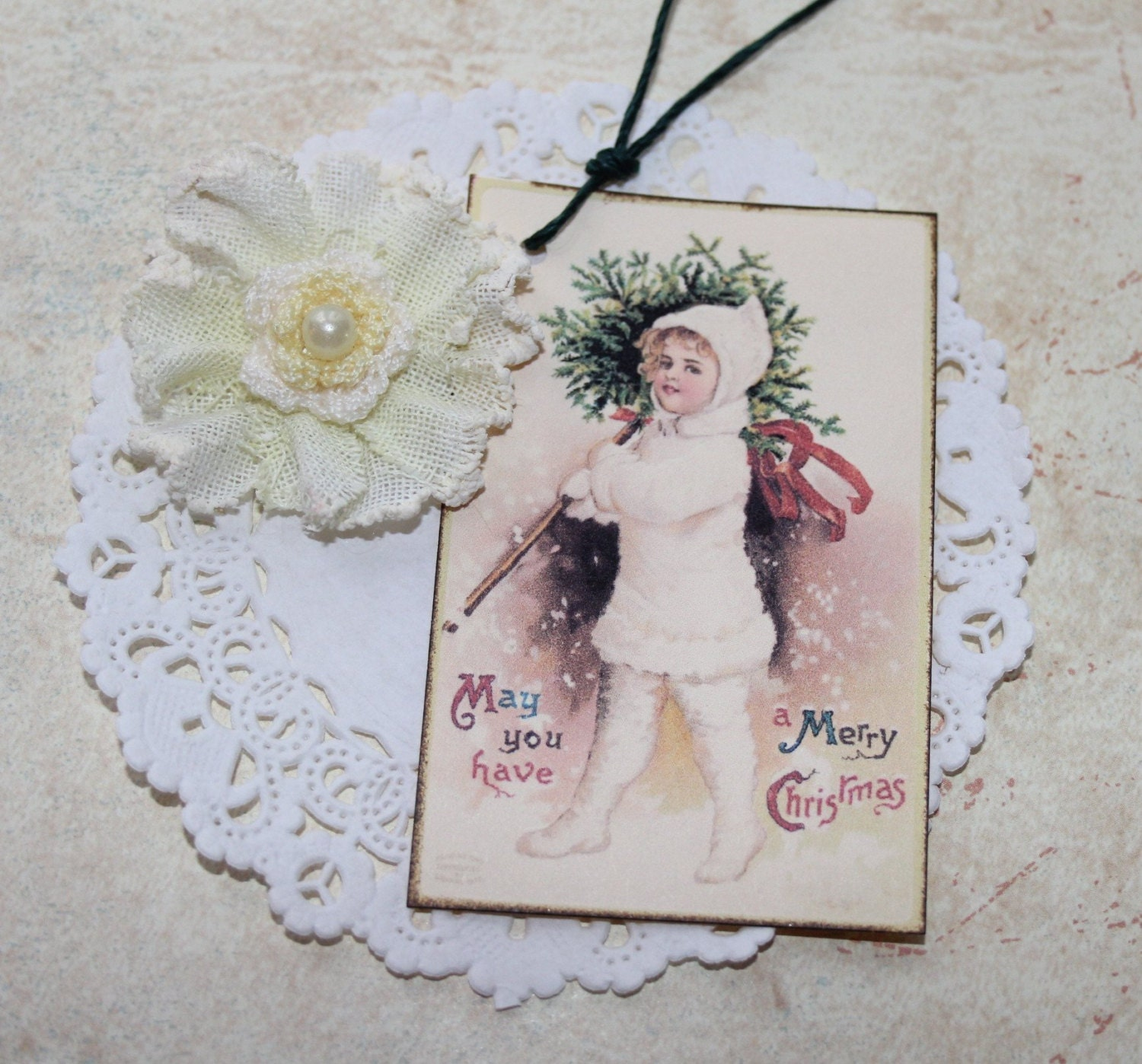 Christmas Gift Tags Vintage Victorian Holiday Tags Set of Four - RetroCuties