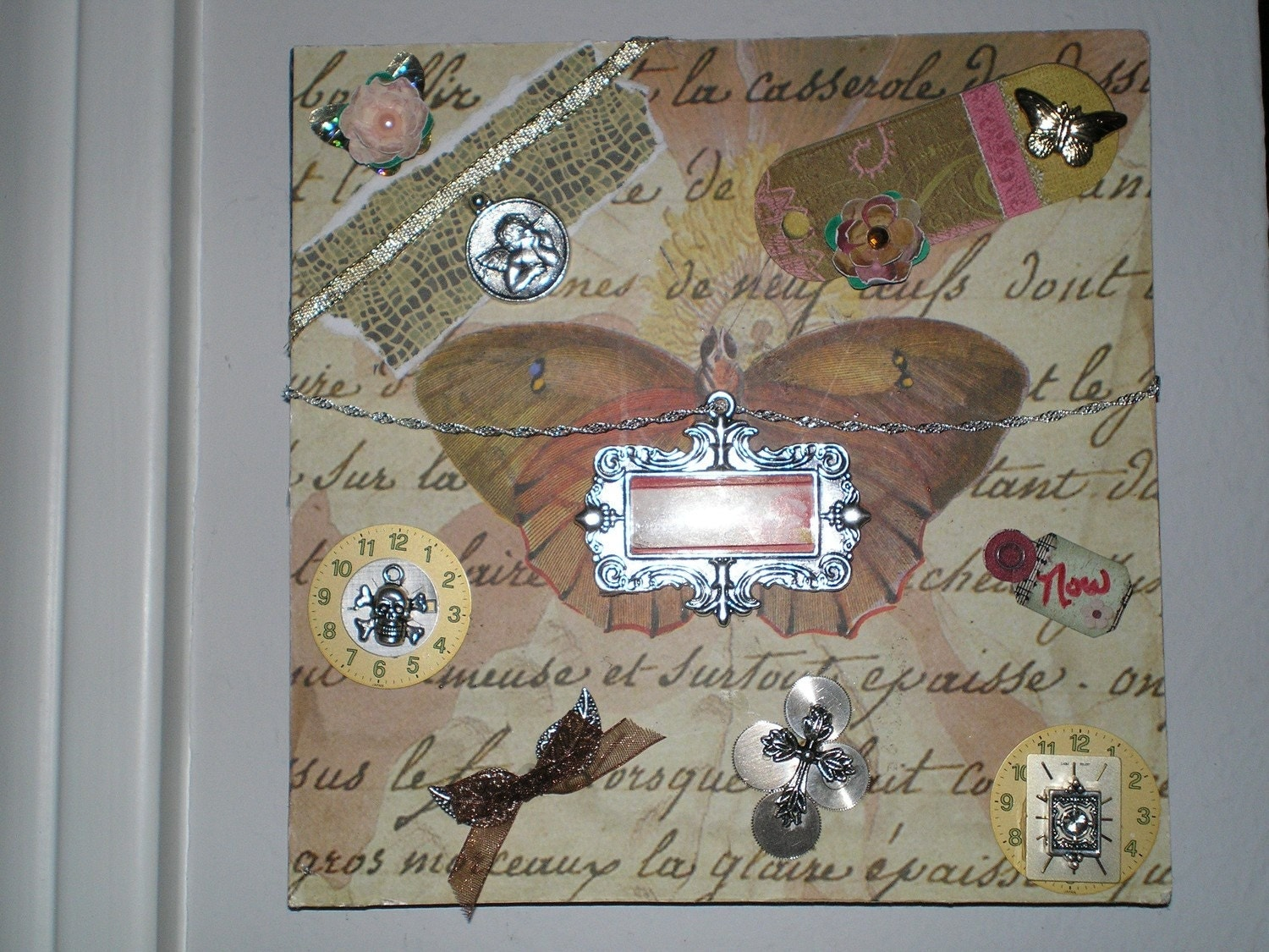She Dreams of Flight 4 - Part 4 in my 4-part series of OOAK Signed Altered Art Collage Mixed Media Plaques with Jewelry Butterflies Dragonflies Skulls Paper Flowers Heart Watch Parts Chains