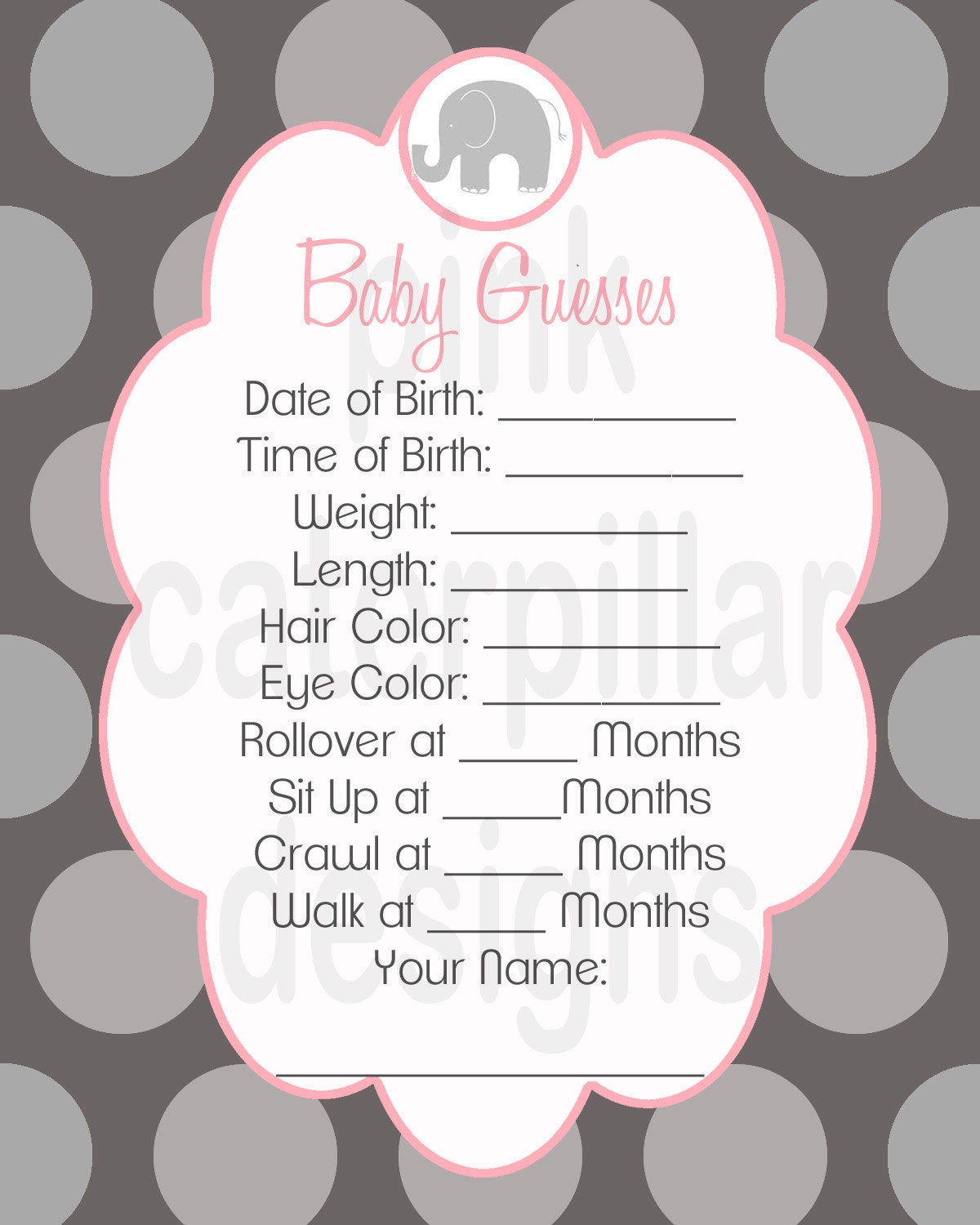 items similar to pink and grey elephant baby shower baby guesses diy