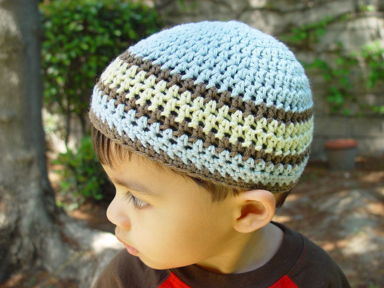 Organic cotton striped kufi, skullcap. For boys aged 1-4 yrs.