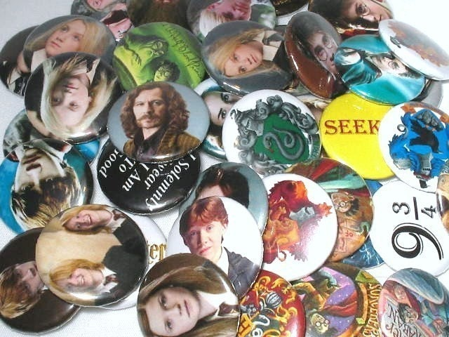 Harry Potter Buttons - You Pick ANY 6 for 5 Dollars - CHRISTMAS IN JULY SALE