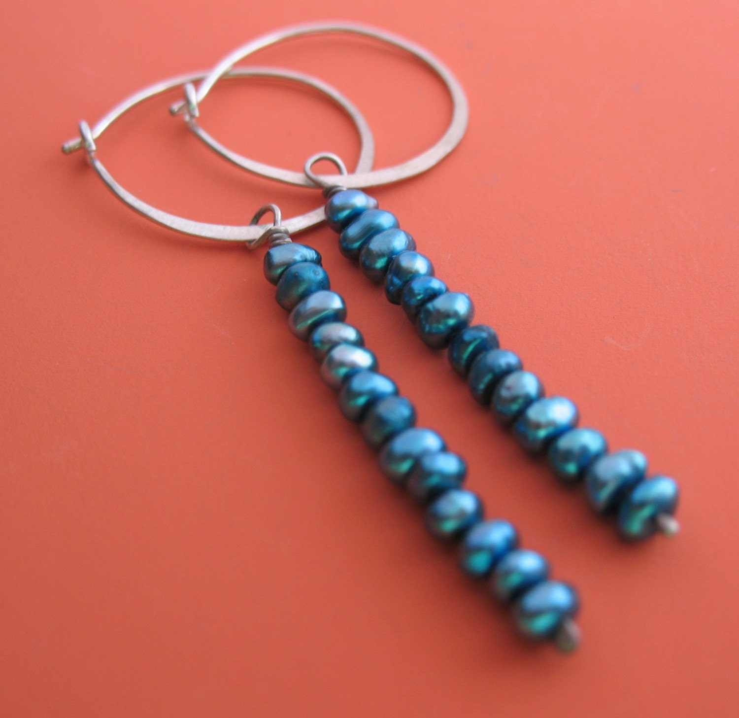 SALE Blue Pearl Hoops