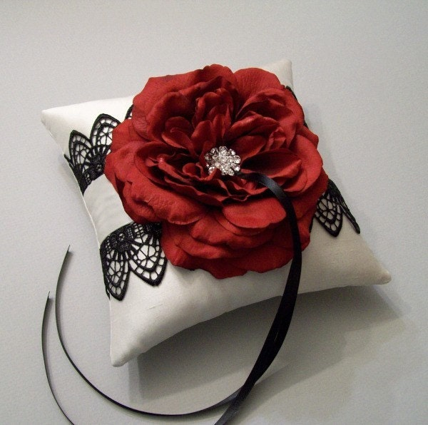 Scarlet Red Rose and Black Tatted Lace on an Ivory Silk Ring Bearer Pillow