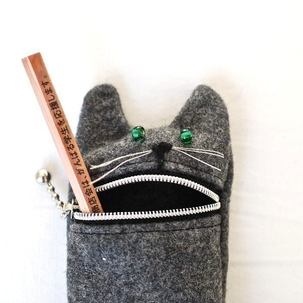 Pouch, Pencil case  Eyeglass case Hungry cat, handmade