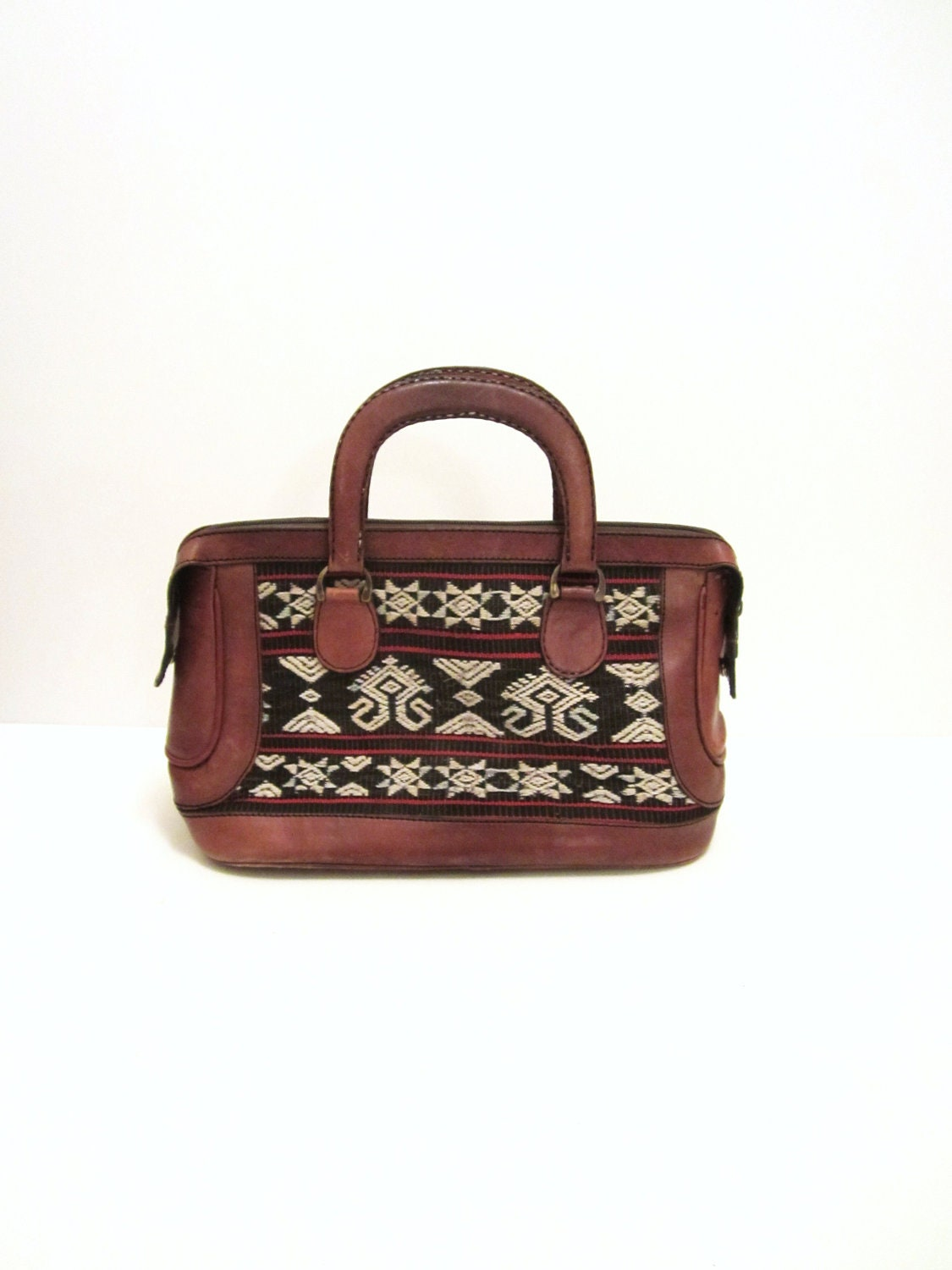 Brown Leather Woven Tapestry Tribal Native Southwestern Purse Bag - searituals