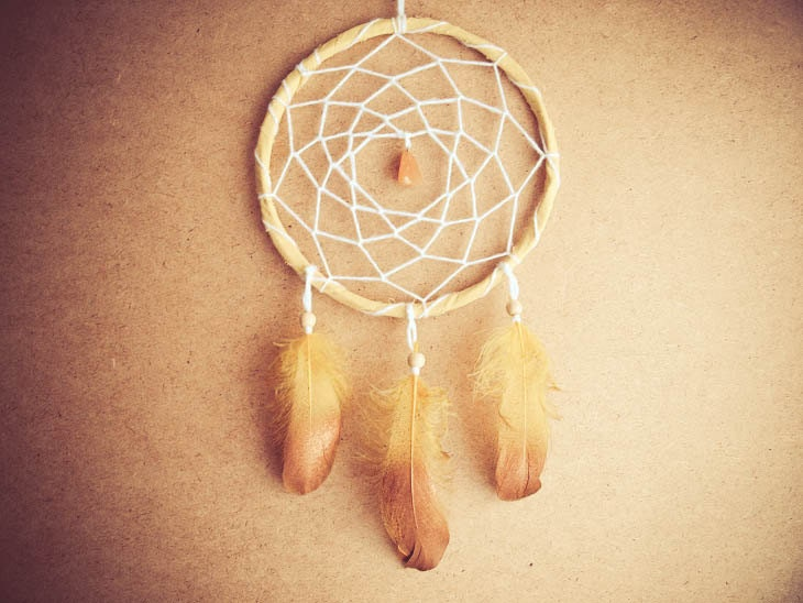 Dream Catcher - Golden Dreams - With Golden Painted Feathers, Yellow Frame and Gemstone - Nursery Mobile, Boho Home Decor, Decoration - bohonest