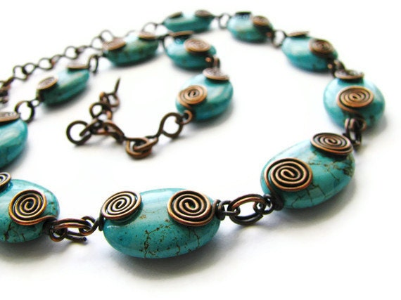 Turquoise Magnesite Necklace with Wire Wrapped Rustic Copper Coils Hand Forged Chain - heversonart