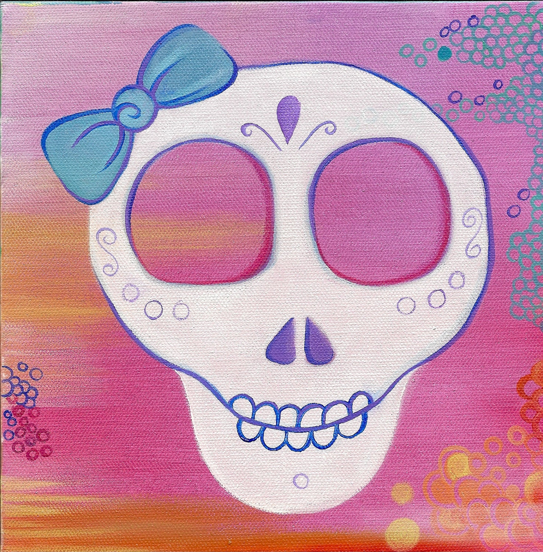 Sugar Skull Art. Whimsical Dia De Los Muertos Painting. Original Oil on Canvas work from Allie Kelley.