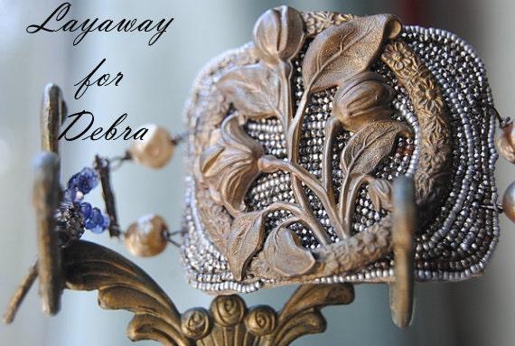 Сделки отложенной на Дебре - викторианский браслет букет - Vintage Сборка французского бисера стали пряжкой Pearl Gemstone викторианский браслет