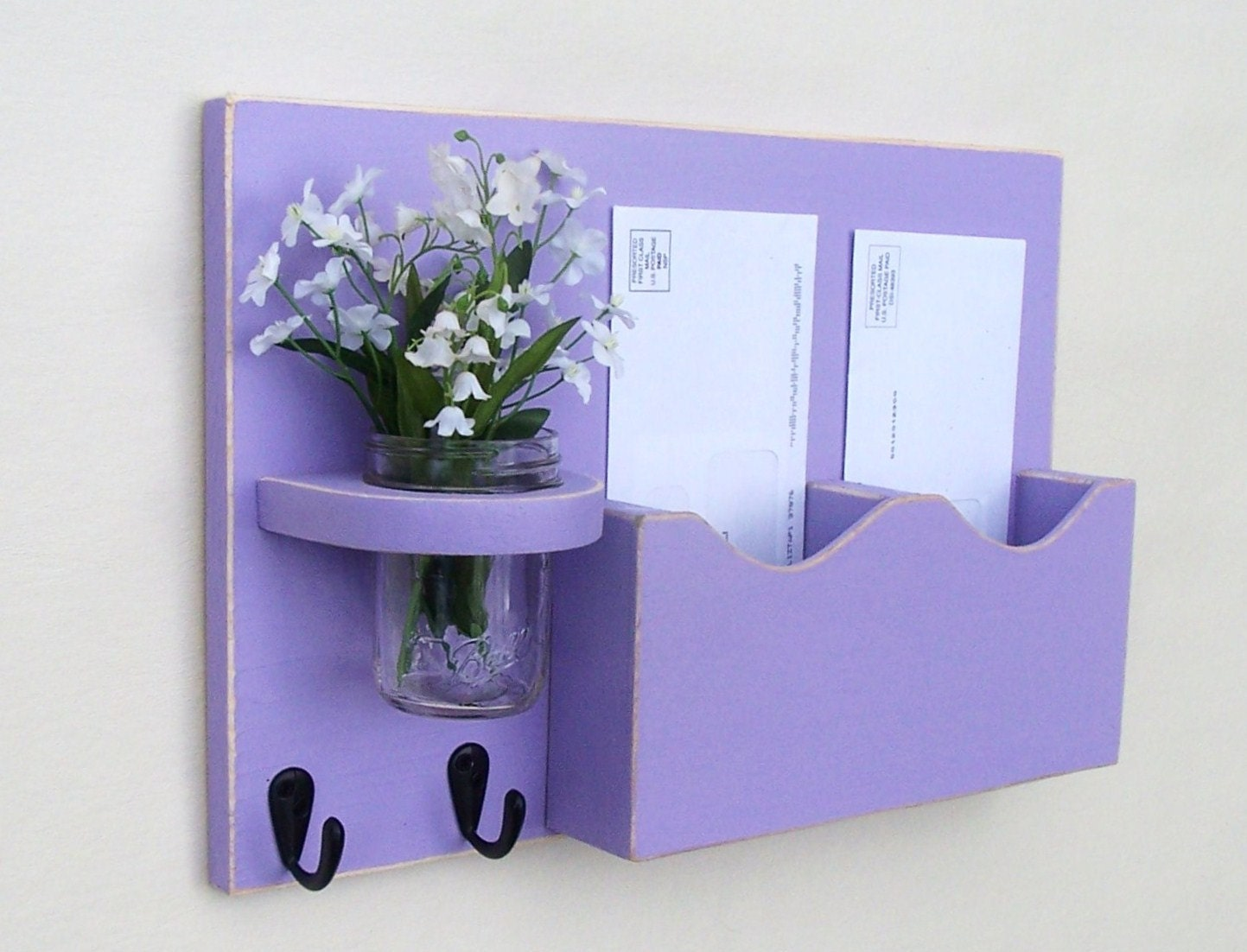 Mail Organizer - Mail Holder - Letter Holder - Key Hooks - Jar Vase - Organizer - Painted Distressed Wood