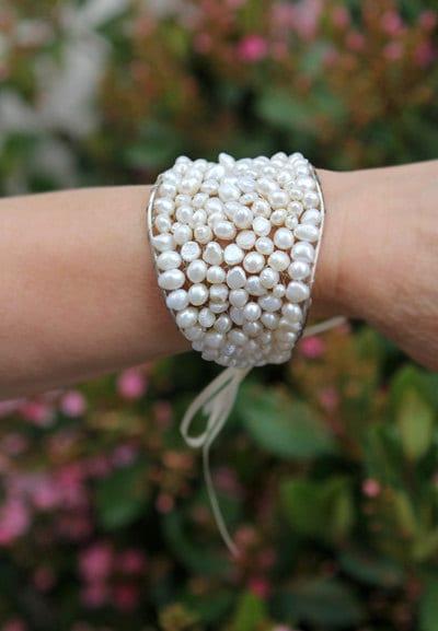 Bridal Bracelet Freshwater Pearls, Bridal Cuff Bracelet
