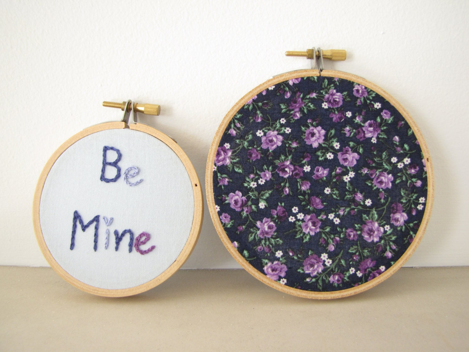 "Embroidery Hoop Wall Art Set of Two - ""Be Mine"" in blueberry - blue, navy, lilac purple, Victorian Valentines Day gift, wedding decoration"