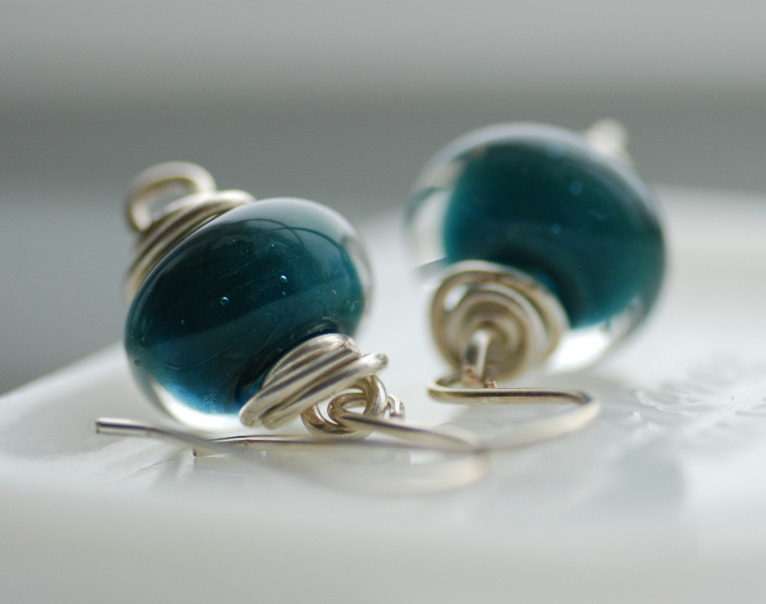 Earrings,  Turquoise Teal Boro Glass and Sterling Silver - One of a Kind - Caribbean