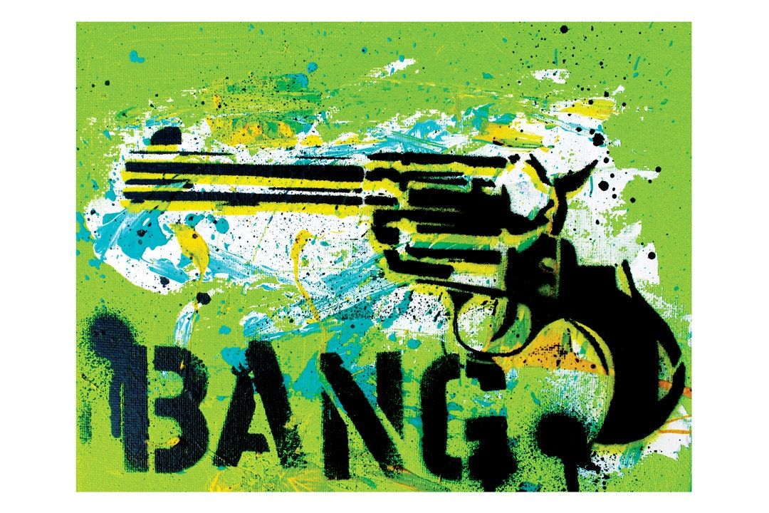 BANG - Revolver on Green - 18 x 12 - High Quality Pop Art Print - NO COUPONS please - PointBlankDesign
